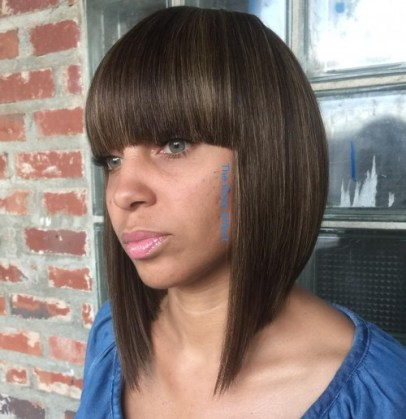 13 Medium Length Bob With Heavy Bang 2